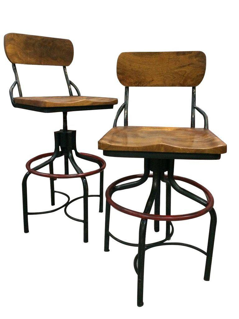 Vintage Industrial Machine Age Swivel Bar Stool Counter to Bar Height Chair Stool Rustic Deco