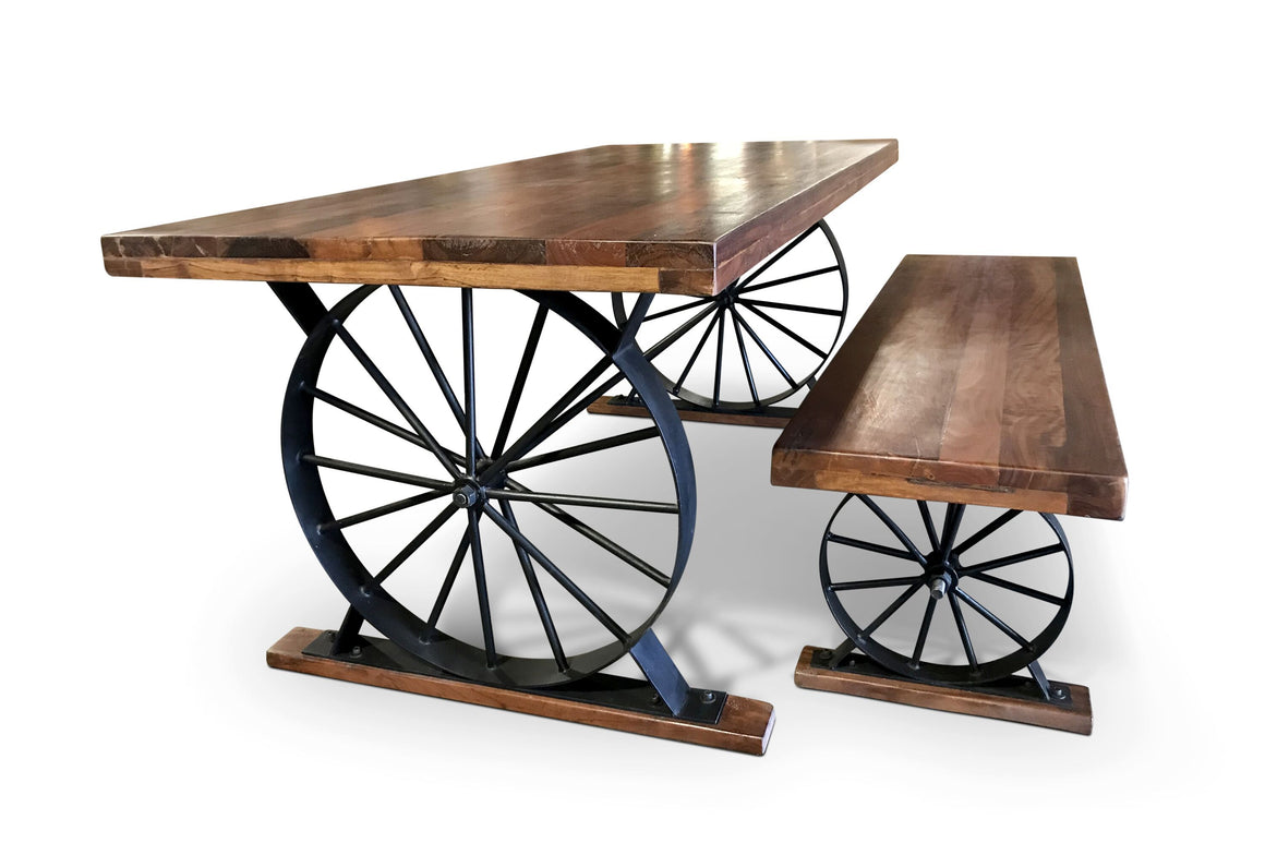 Wagon Wheel Table and Bench Set Solid Hardwood Iron Dining Table Rustic Deco