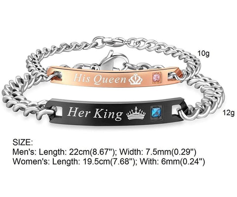COUPLE KING & QUEEN BRACELET (STAINLESS STEEL)