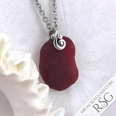 Large Red Ocean Waves Sea Glass Pendant