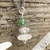 August Birthstone Crystal Clear Sea Glass Necklace with a Peridot Green Swarovski Crystal