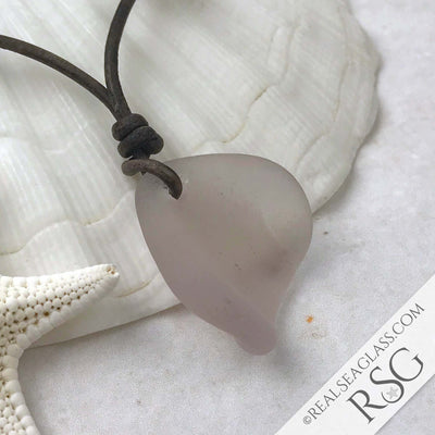 Bottle Top Sun Purple Sea Glass Leather Necklace with Genuine Pearls