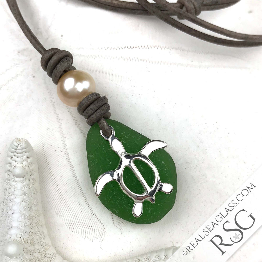Bright Kelly Green Sea Glass Leather Necklace with Genuine Pearl and Sterling Sea Turtle Charm