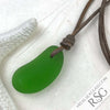 Bright Jelly Bean Green Sea Glass Bottle Bottom Leather Surfside Necklace