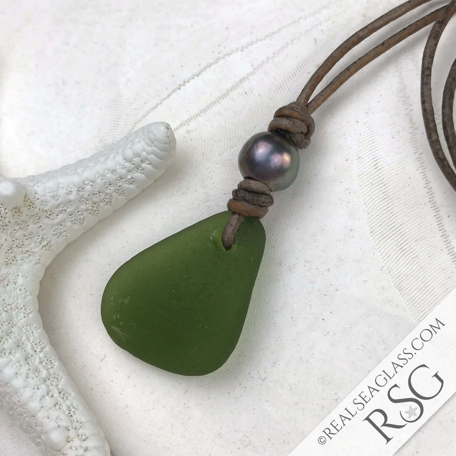 Clear Olive Green Sea Glass Leather Necklace with Genuine Pearl