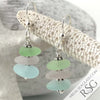 Summer Sunrise Aqua, Sun Purple & Seafoam Sea Glass Sea Stack Earrings