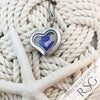 Blue Sea Glass Locket Necklace - Mini Heart