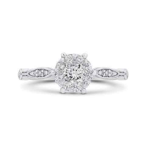 14K White Gold Round & Marquise Diamond Engagement Ring