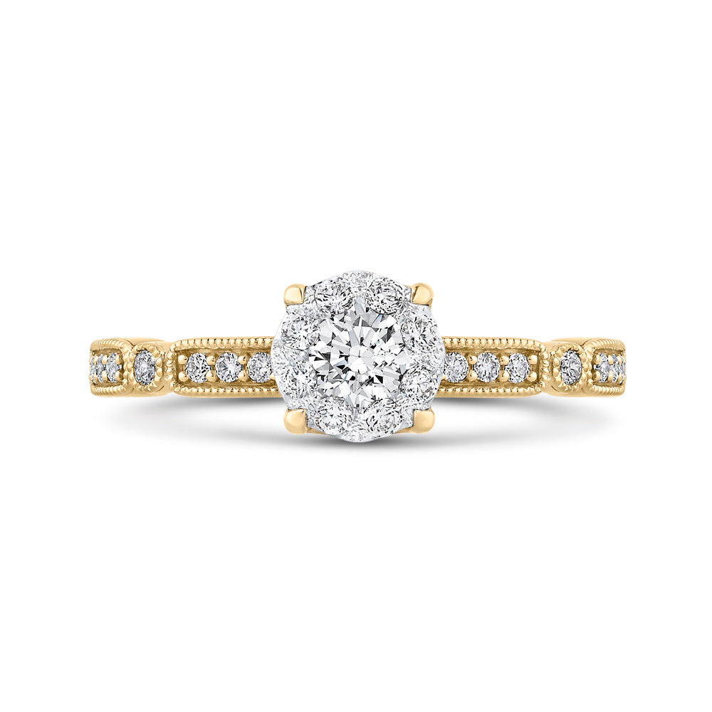 Round Cut Diamond Engagement Ring In 14K Two-Tone Gold
