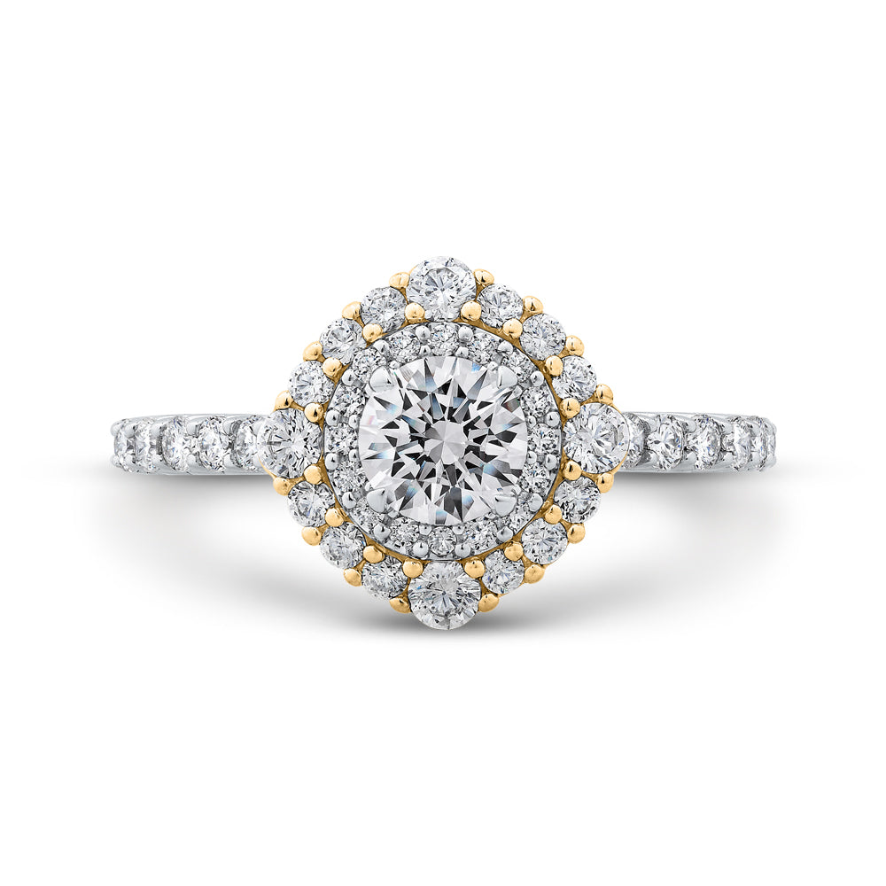 14K Two Tone Gold Round Diamond Double Halo Engagement Ring
