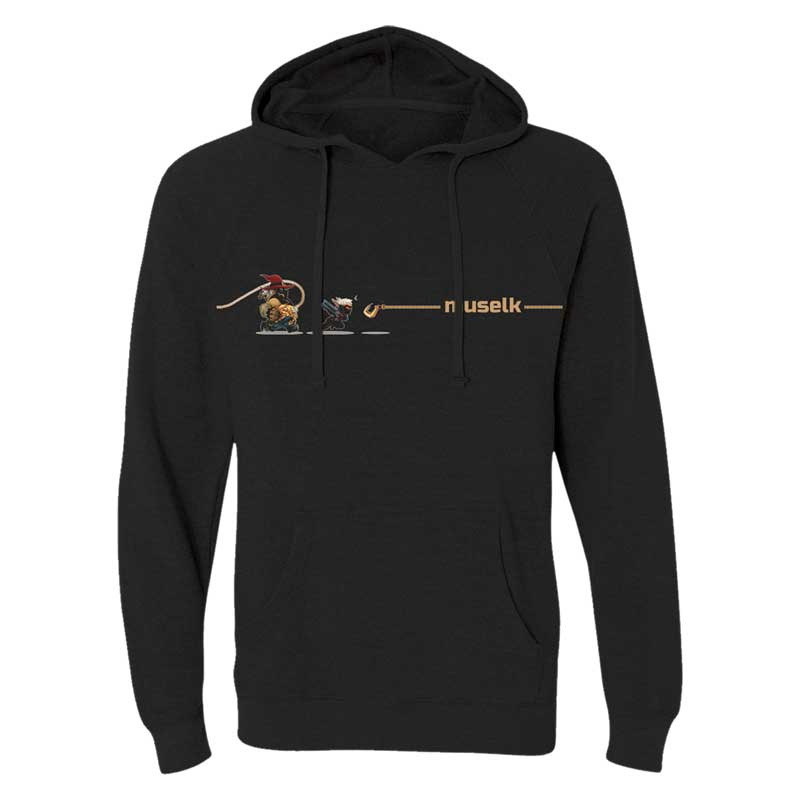 MUSELK ROPED BLACK PULLOVER SWEATSHIRT