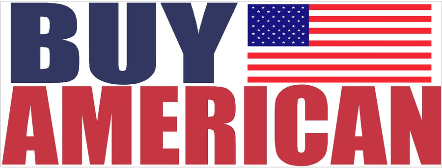 "3"" x 9"" Buy American Bumper Sticker Decal"