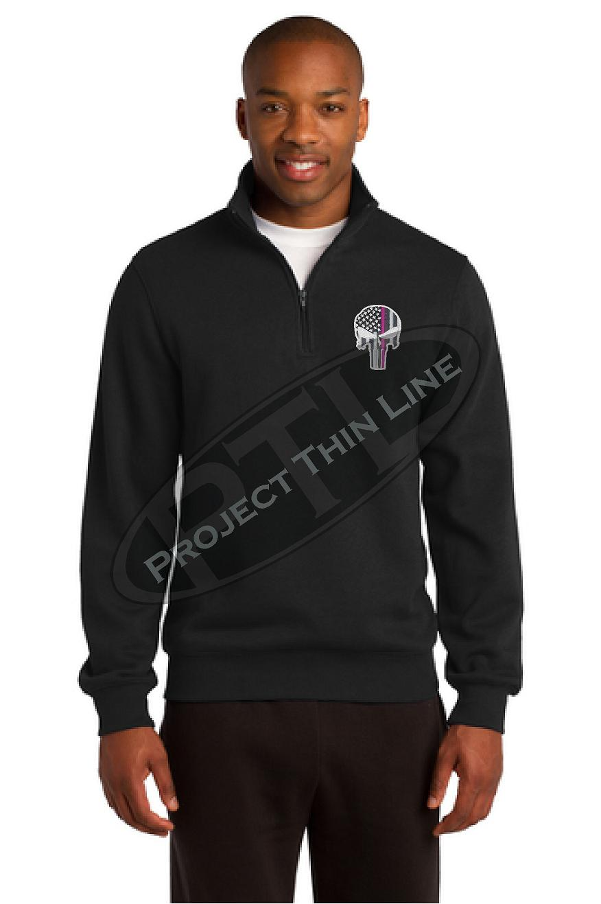 Men's Black Thin Pink Line Punisher Skull 1/4 Zip Fleece Sweatshirt