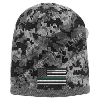 Black Camo subdued Thin Green Line American Flag