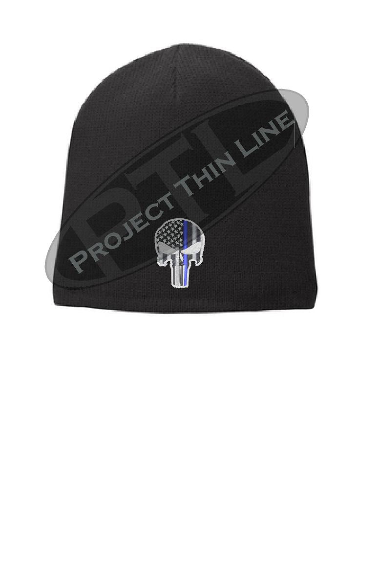 Black Skull Cap embroidered with Thin Blue Line Punisher Skull inlayed with subdued American Flag