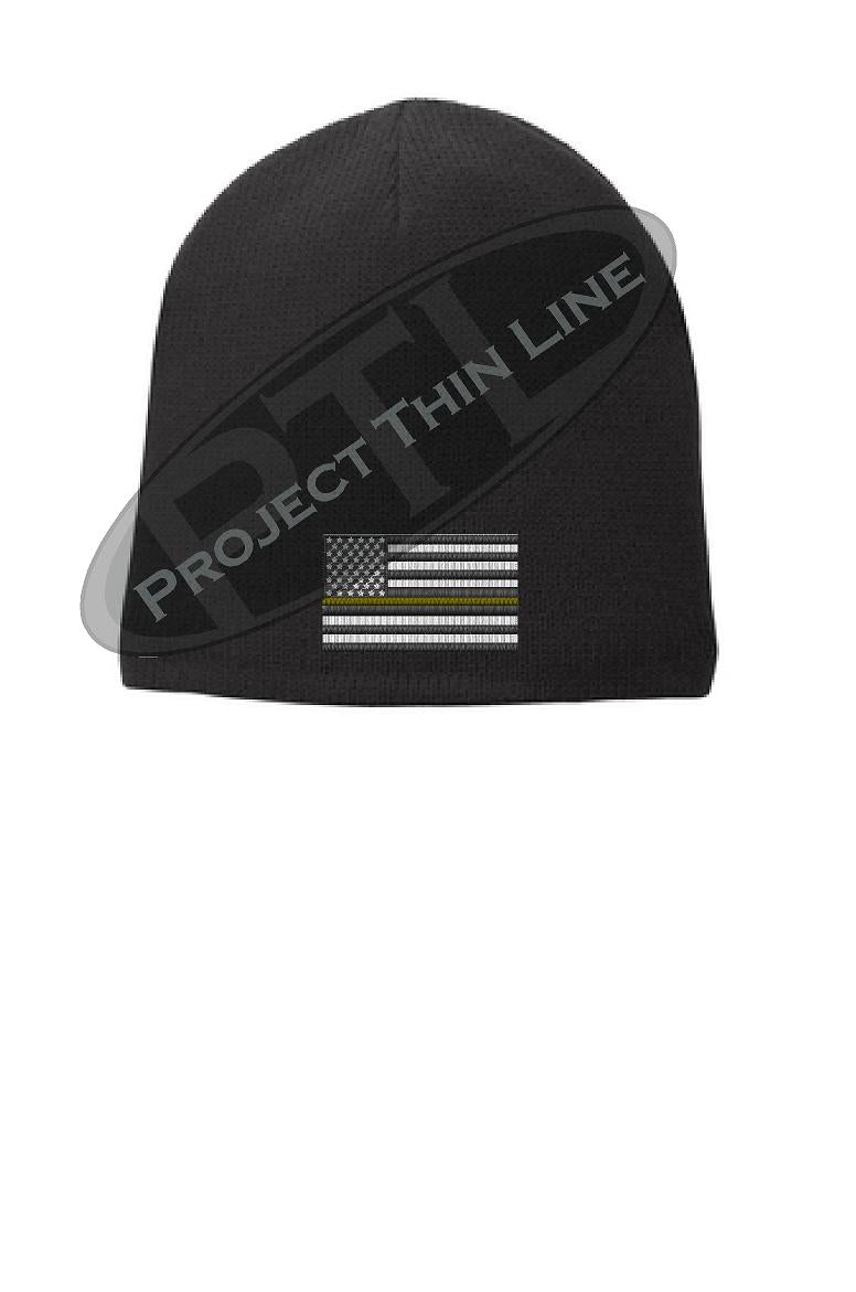 Black Skull Cap embroidered with a subdued Thin GOLD Line American Flag