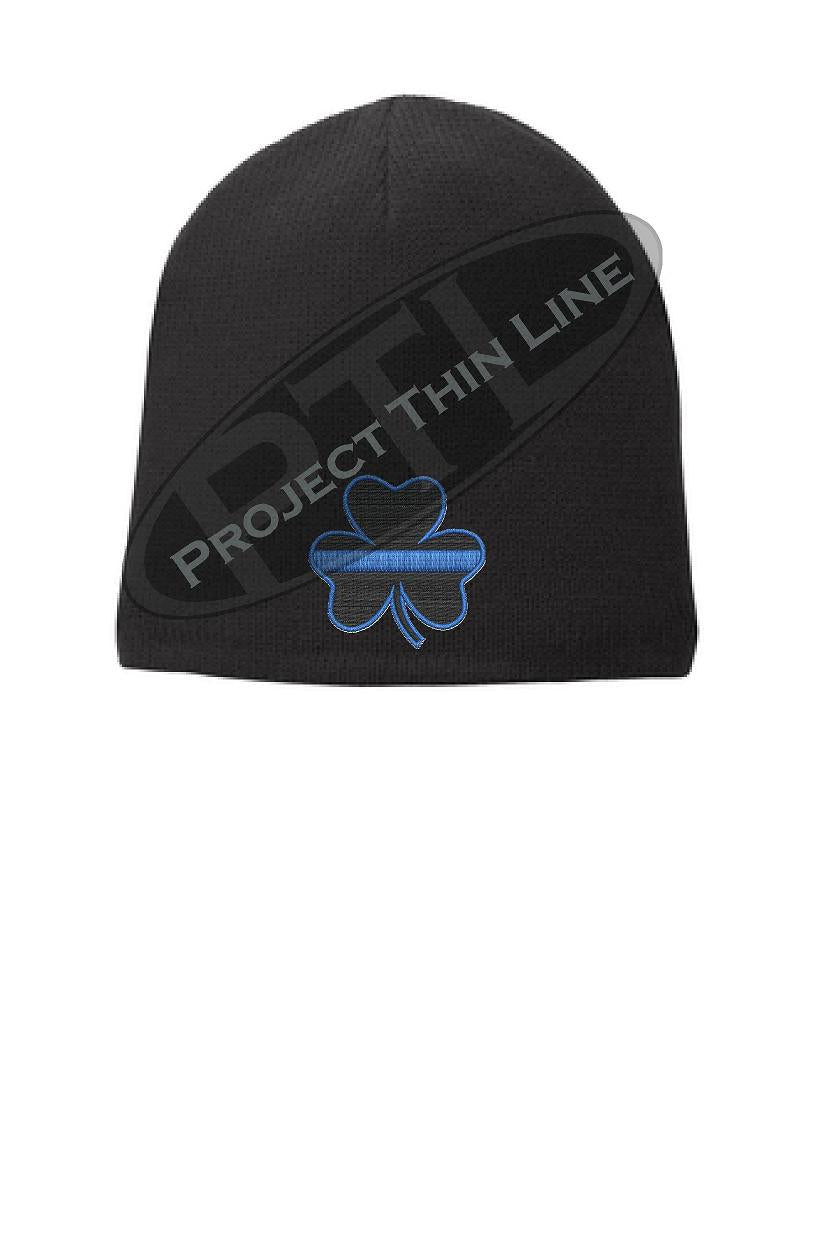 Black Skull Cap embroidered with a Black Shamrock with thin Blue line