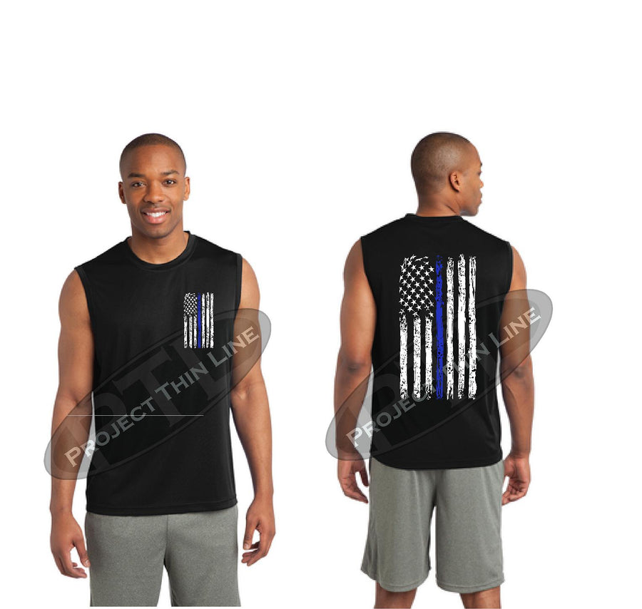 Thin BLUE Line Tattered American Flag Performance Tank Top