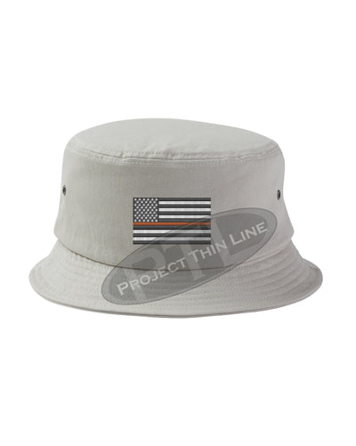 Stone Embroidered Thin ORANGE Line American Flag Bucket - Fisherman Hat