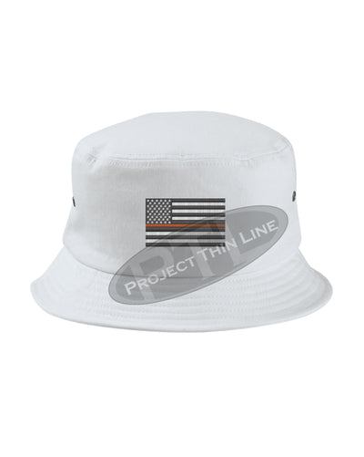 White Embroidered Thin ORANGE Line American Flag Bucket - Fisherman Hat