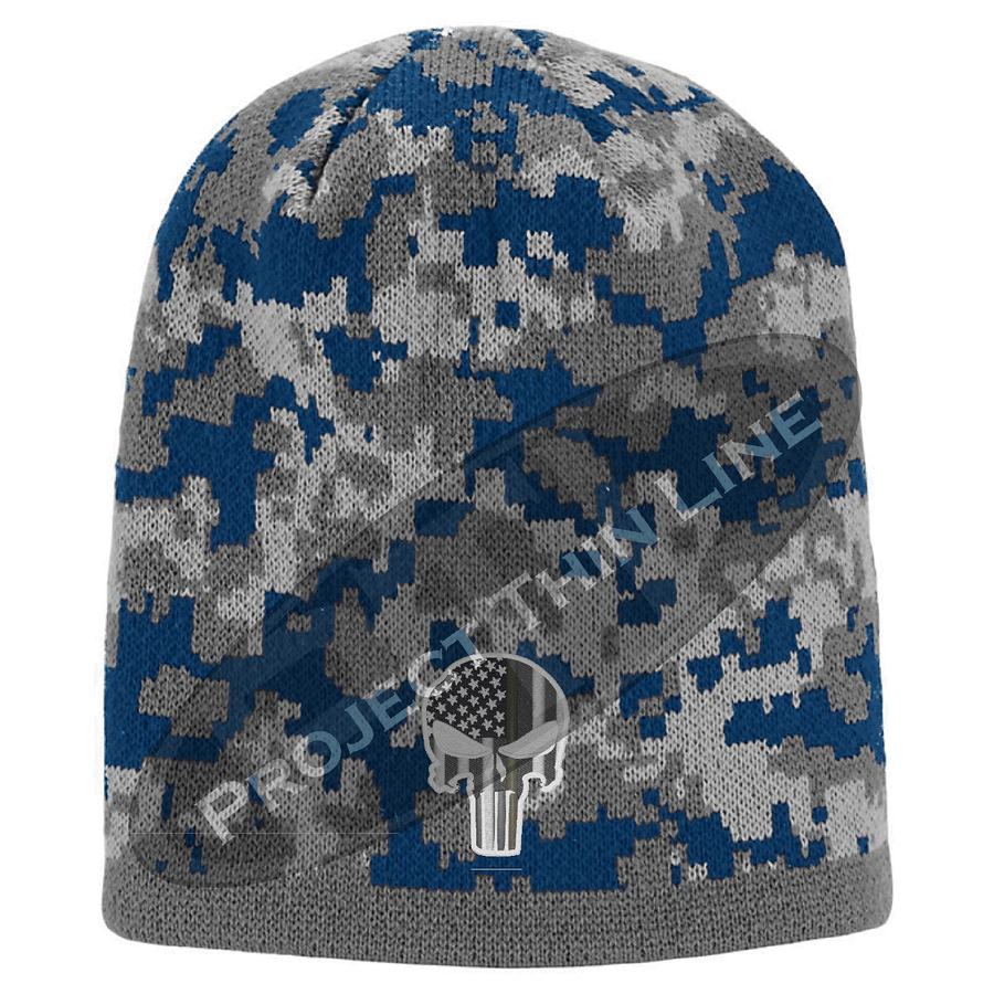 Black Camouflage Skull Cap with embroidered Subdued Thin GOLD Line Punisher