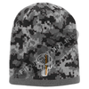 Black Camouflage  Skull Cap with embroidered Subdued Orange Punisher Skull inlayed with American Flag