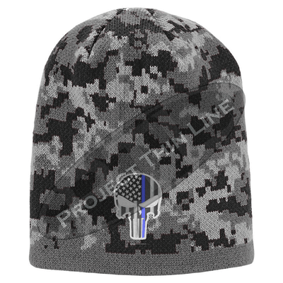 Black Camo with Subdued Blue Line Punisher inlayed American Flag