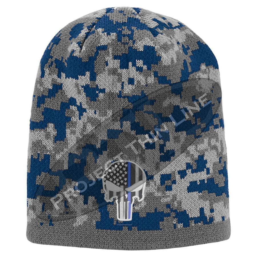 Camouflage embroidered Subdued Thin BLUE Line Punisher Inlayed American FLAG Skull Cap