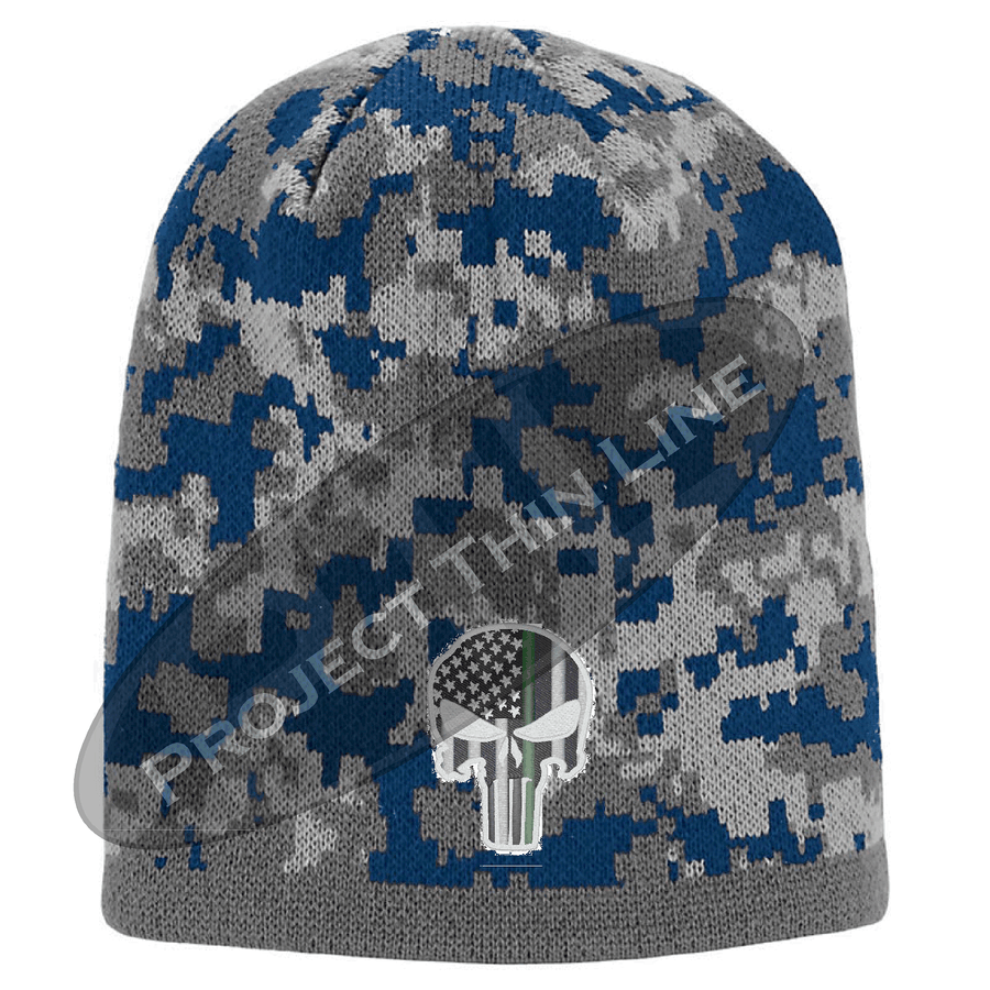 Camouflage Thin GREEN Line Punisher Inlayed with American FLAG Skull Cap