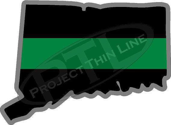 "5"" Connecticut CT Thin Green Line Black State Shape Sticker"