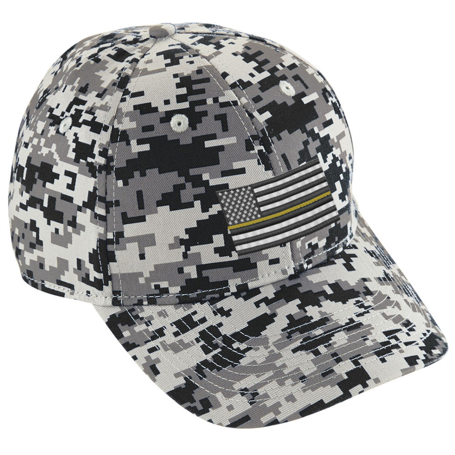 Embroidered Thin YELLOW Line American Flag Digital Camo Hat