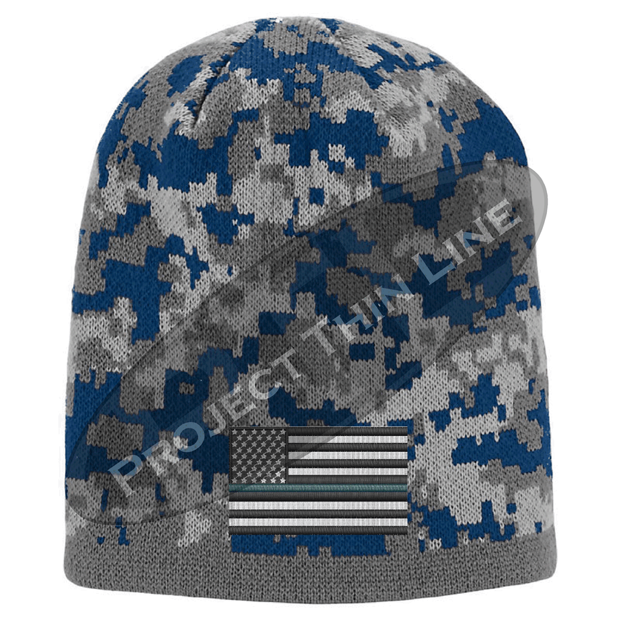 Camouflage Thin GREEN Line american FLAG Skull Cap