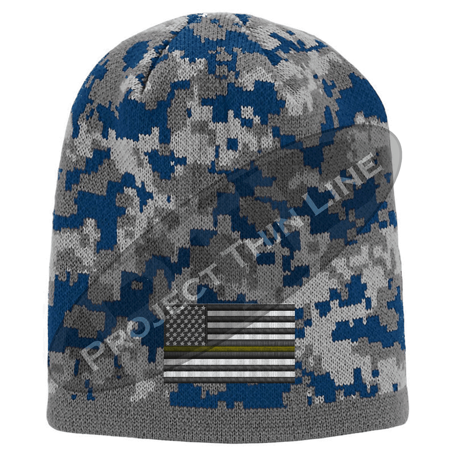 Black Camouflage  Skull Cap with embroidered Subdued Thin ORANGE Line Flag
