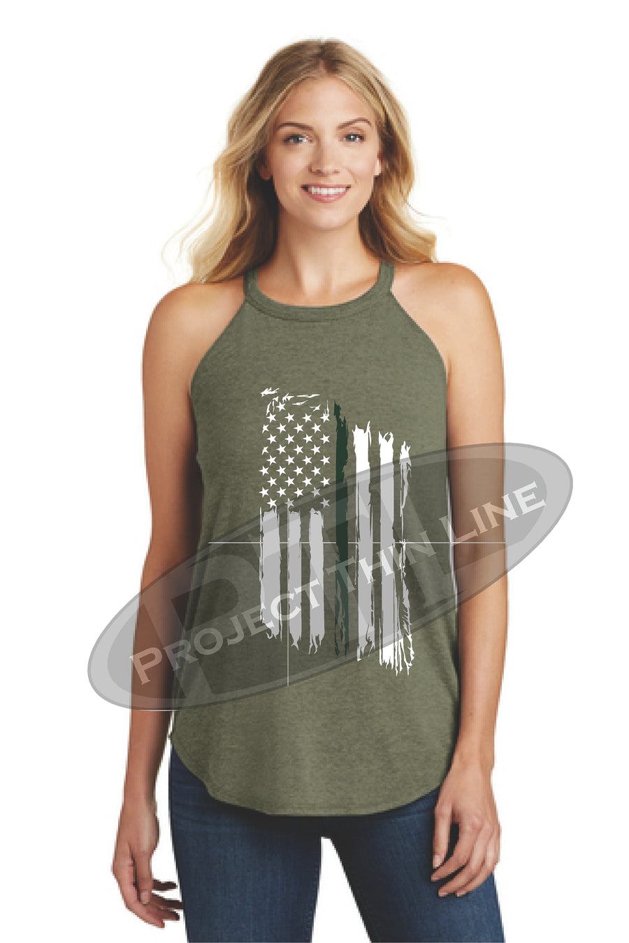 Black Tattered Thin GREEN Line American Flag Rocker Tank Top - FRONT