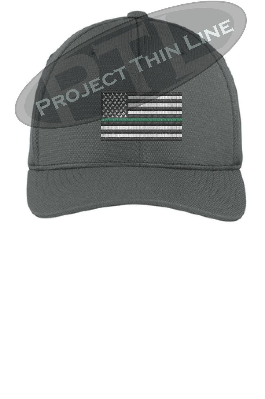 Black Embroidered Thin GREEN Line American Flag Flex Fit Fitted TRUCKER Hat
