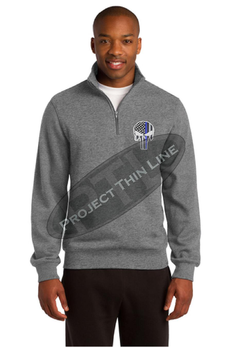 Men's Grey Thin Blue Line Skull 1/4 Zip Fleece Sweatshirt