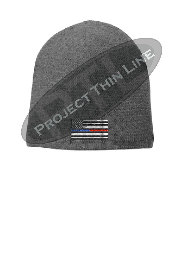 GREY Thin BLUE / RED Line FLAG Skull FLEECE LINED Beanie Hat Cap