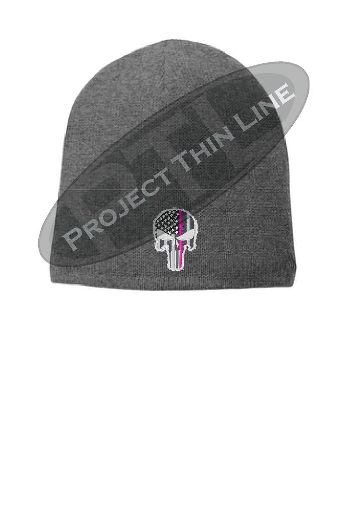 GREY Thin PINK Line FLAG Skull FLEECE LINED Beanie Hat Cap