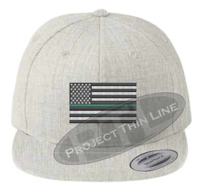 Heather Embroidered Thin GREEN American Flag Flat Bill Snapback Cap