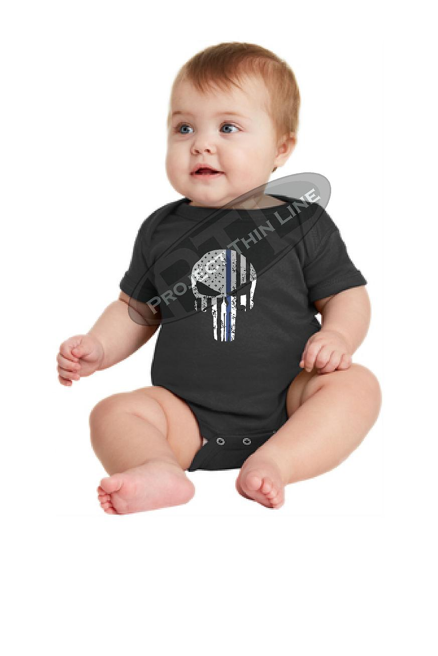 Infant Thin Blue Line US Tattered SKULL Punisher Flag Short Sleeve Baby Bodysuit Onesie - Size 6 Months