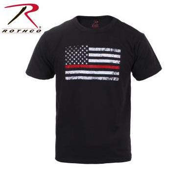 Rothco Kids Thin RED Line US Tattered Flag Short Sleeve T-Shirt