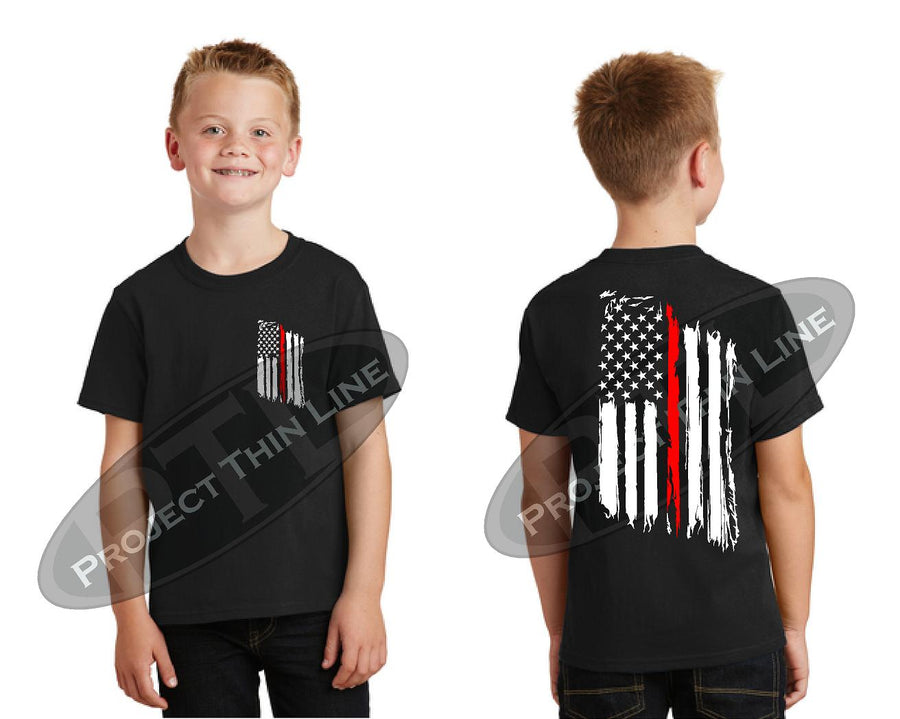Kids Thin Red Line US Tattered Flag Short Sleeve T-Shirt