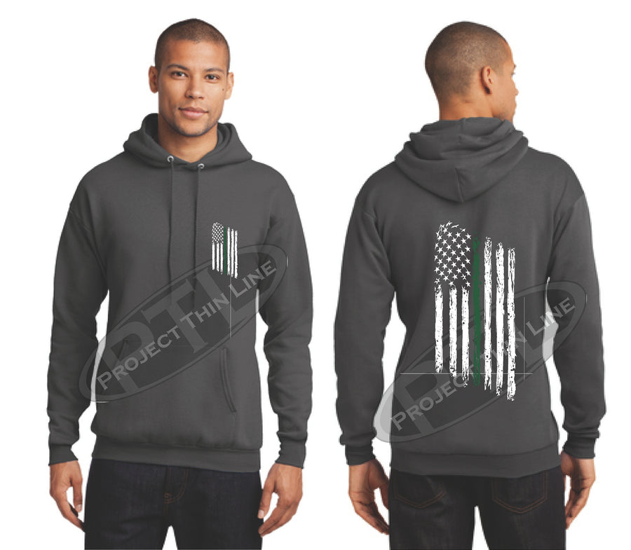 Black Thin Green Line Tattered American Flag Hooded Sweatshirt