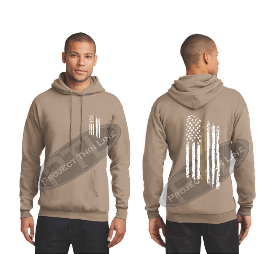 Black Thin GOLD Line Tattered American Flag Hooded Sweatshirt