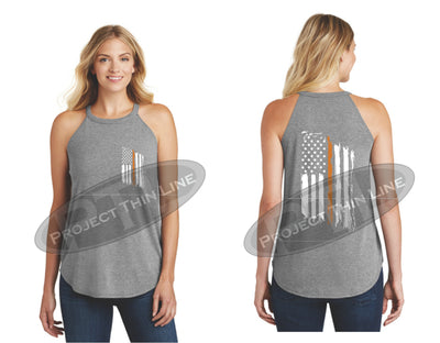 Grey Tattered Thin ORANGE Line American Flag Rocker Tank Top