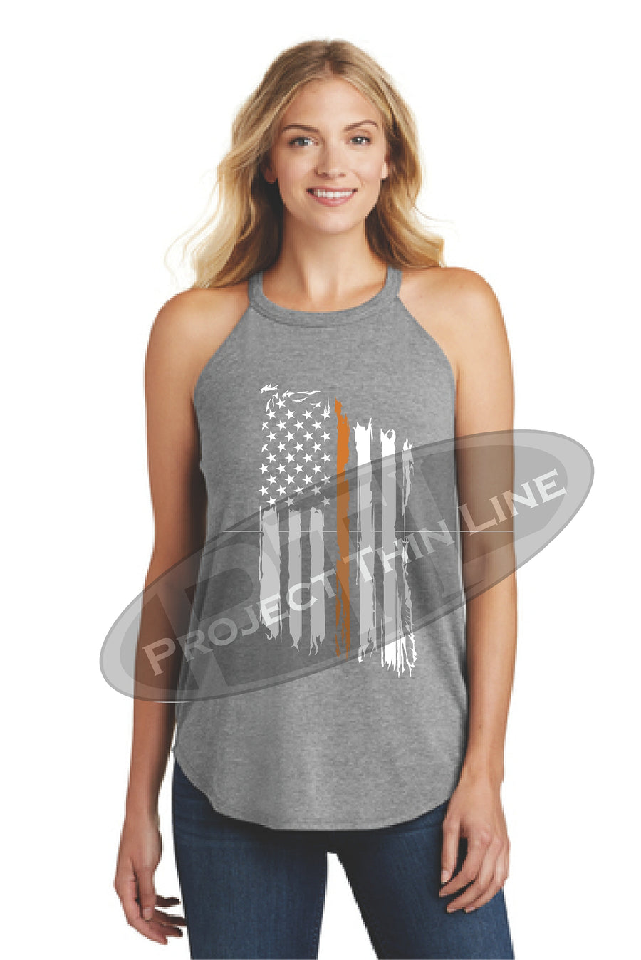 Black Tattered Thin ORANGE Line American Flag Rocker Tank Top - FRONT