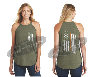 OD Green Tattered Thin ORANGE Line American Flag Rocker Tank Top