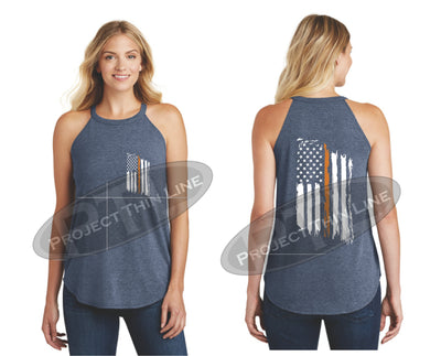 Navy Tattered Thin ORANGE Line American Flag Rocker Tank Top