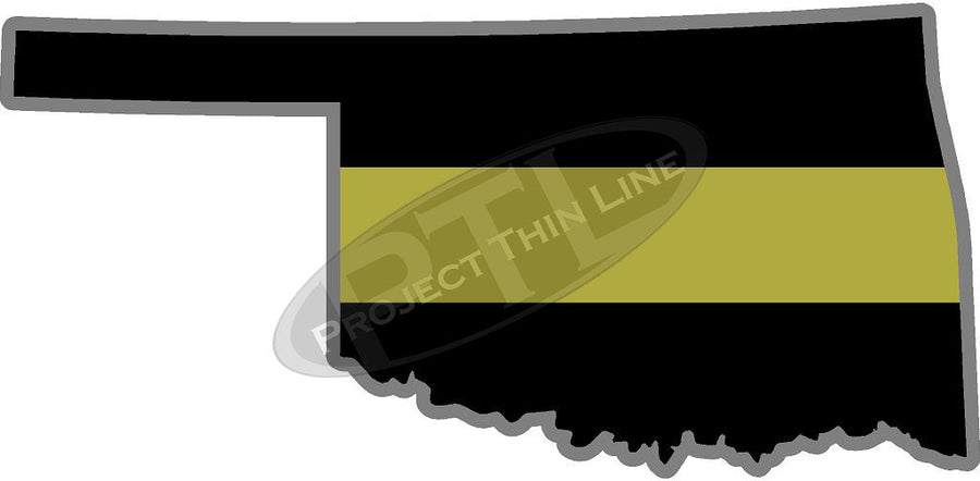 "5"" Oklahoma OK Thin Gold Line State Sticker Decal"