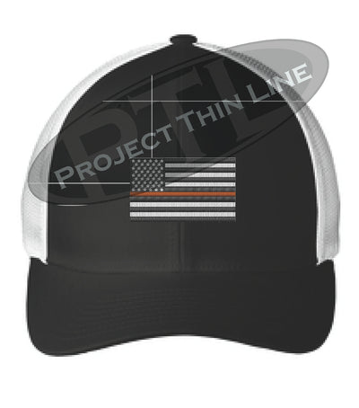 Black / White Embroidered Thin ORANGE Line American Flag Flex Fit Fitted Baseball Hat